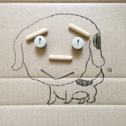 dog drawing with IKEA bits