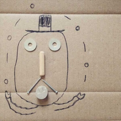 drawing with IKEA bits of a man juggling