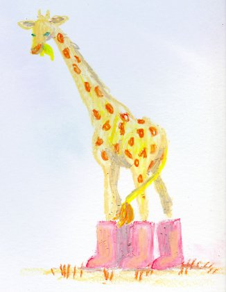 giraffe in galoshes