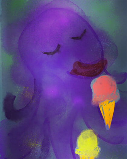 octopus eating ice cream