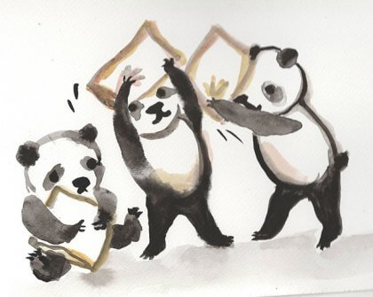 panda pillow fight