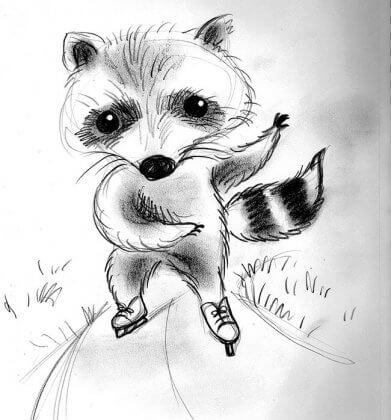 rollerblading raccoon