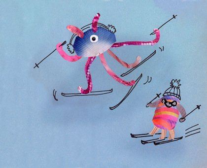 aliens skiing